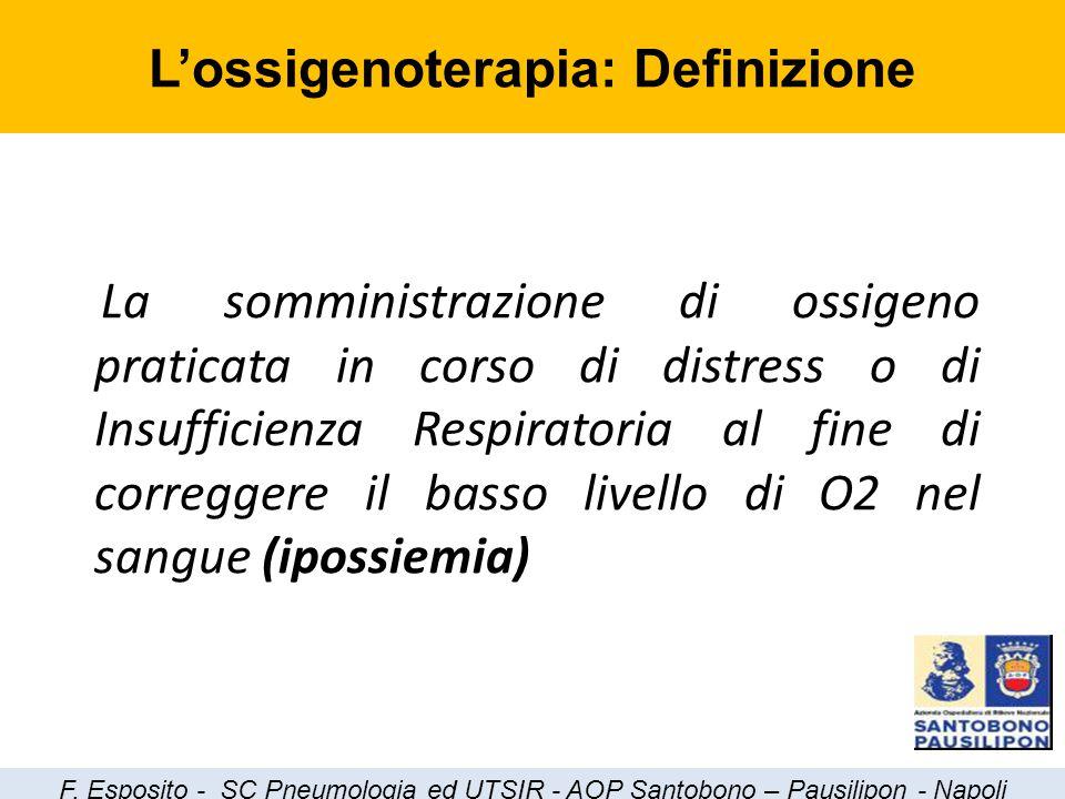 La somministrazione di ossigeno praticata in corso di distress o di Insufficienza Respiratoria al fine di correggere il basso livello di O2 nel sangue