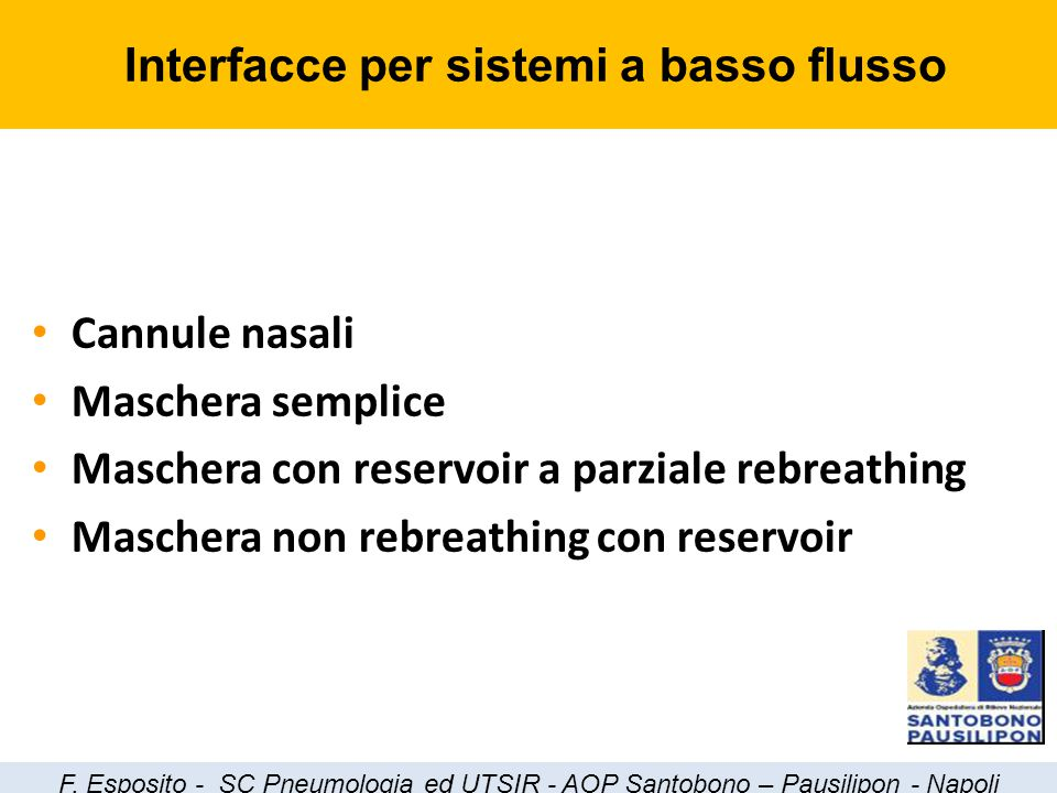 Cannule nasali Maschera semplice Maschera con reservoir a parziale rebreathing Maschera non rebreathing con reservoir Interfacce per sistemi a basso f