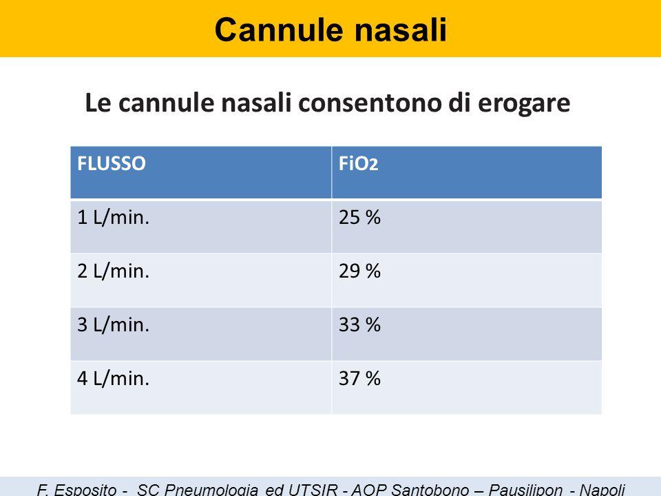 Cannule nasali Le cannule nasali consentono di erogare FLUSSOFiO 2 1 L/min.25 % 2 L/min.29 % 3 L/min.33 % 4 L/min.37 % F. Esposito - SC Pneumologia ed