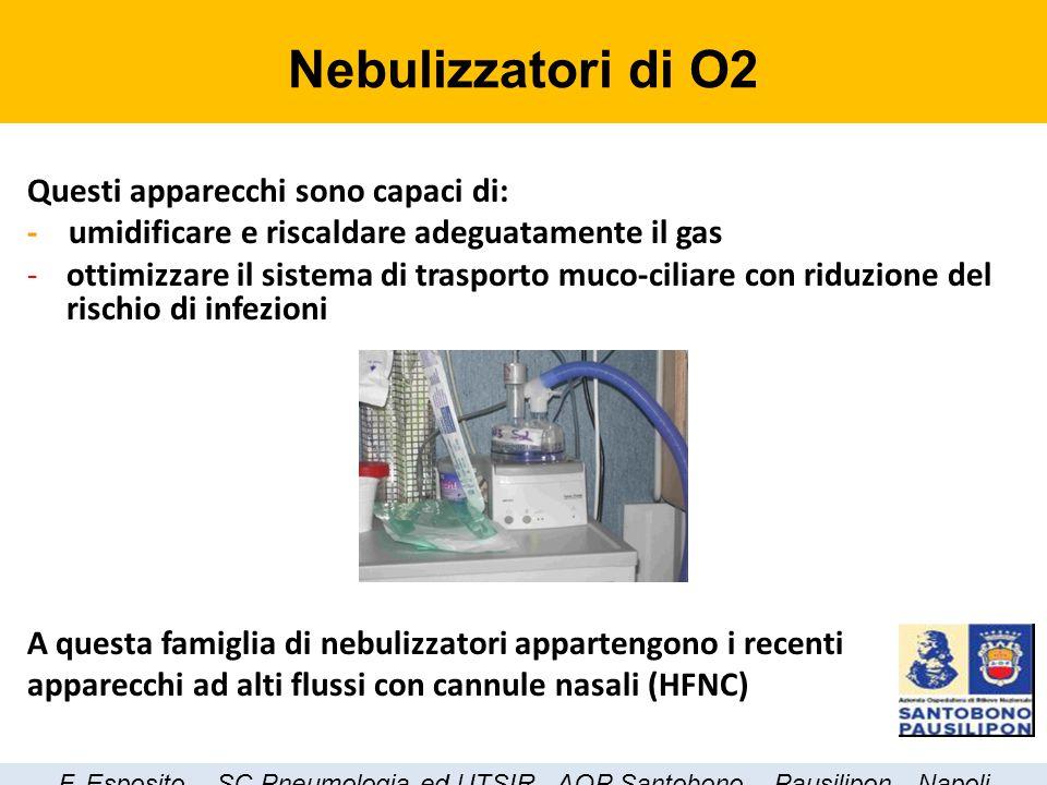 Questi apparecchi sono capaci di: - umidificare e riscaldare adeguatamente il gas -ottimizzare il sistema di trasporto muco-ciliare con riduzione del