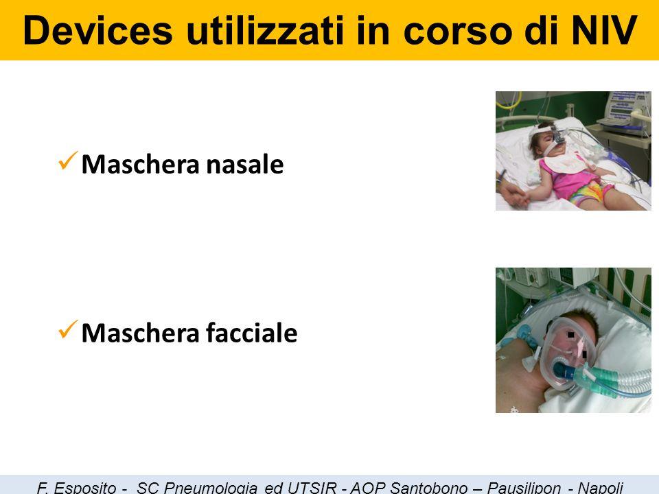 Maschera nasale Maschera facciale Devices utilizzati in corso di NIV F. Esposito - SC Pneumologia ed UTSIR - AOP Santobono – Pausilipon - Napoli