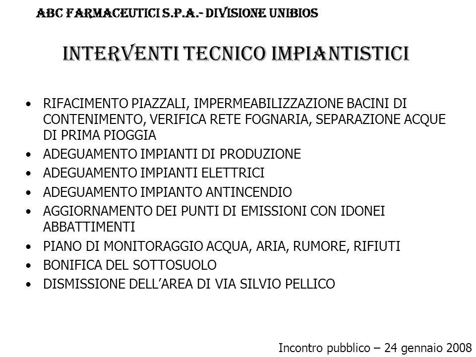 INTERVENTI TECNICO IMPIANTISTICI RIFACIMENTO PIAZZALI, IMPERMEABILIZZAZIONE BACINI DI CONTENIMENTO, VERIFICA RETE FOGNARIA, SEPARAZIONE ACQUE DI PRIMA PIOGGIA ADEGUAMENTO IMPIANTI DI PRODUZIONE ADEGUAMENTO IMPIANTI ELETTRICI ADEGUAMENTO IMPIANTO ANTINCENDIO AGGIORNAMENTO DEI PUNTI DI EMISSIONI CON IDONEI ABBATTIMENTI PIANO DI MONITORAGGIO ACQUA, ARIA, RUMORE, RIFIUTI BONIFICA DEL SOTTOSUOLO DISMISSIONE DELL'AREA DI VIA SILVIO PELLICO Incontro pubblico – 24 gennaio 2008 ABC FARMACEUTICI S.p.a.- DIVISIONE UNIBIOS