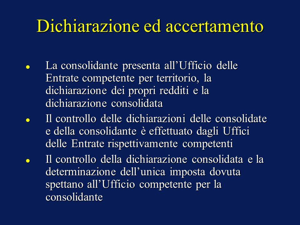 Dichiarazione ed accertamento La consolidante presenta all'Ufficio delle Entrate competente per territorio, la dichiarazione dei propri redditi e la dichiarazione consolidata La consolidante presenta all'Ufficio delle Entrate competente per territorio, la dichiarazione dei propri redditi e la dichiarazione consolidata Il controllo delle dichiarazioni delle consolidate e della consolidante è effettuato dagli Uffici delle Entrate rispettivamente competenti Il controllo delle dichiarazioni delle consolidate e della consolidante è effettuato dagli Uffici delle Entrate rispettivamente competenti Il controllo della dichiarazione consolidata e la determinazione dell'unica imposta dovuta spettano all'Ufficio competente per la consolidante Il controllo della dichiarazione consolidata e la determinazione dell'unica imposta dovuta spettano all'Ufficio competente per la consolidante