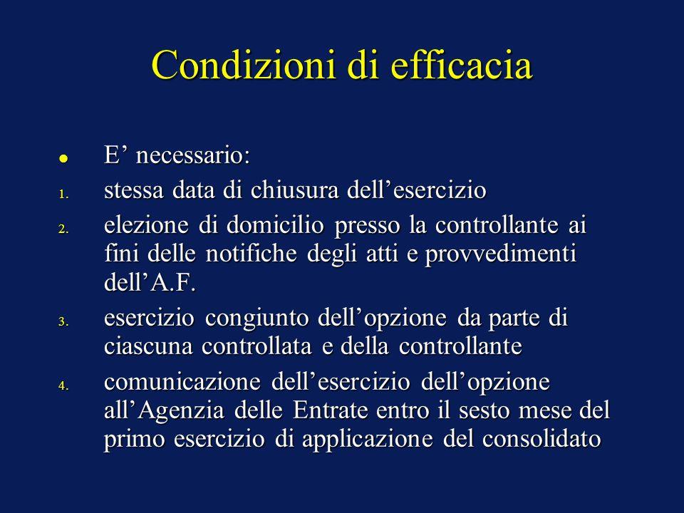 Condizioni di efficacia E' necessario: E' necessario: 1.