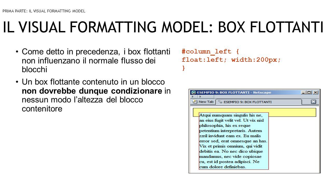 IL VISUAL FORMATTING MODEL: BOX FLOTTANTI Come detto in precedenza, i box flottanti non influenzano il normale flusso dei blocchi Un box flottante contenuto in un blocco non dovrebbe dunque condizionare in nessun modo l'altezza del blocco contenitore PRIMA PARTE: IL VISUAL FORMATTING MODEL #column_left { float:left; width:200px; }