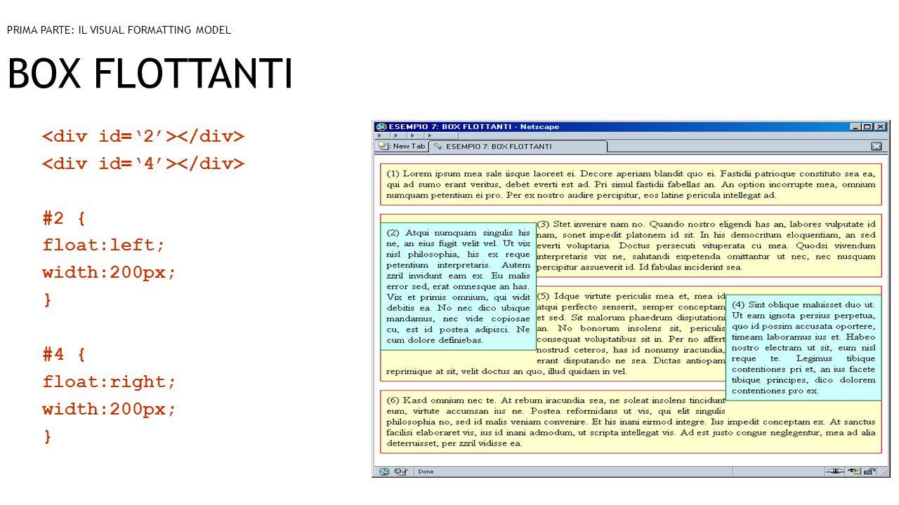 BOX FLOTTANTI #2 { float:left; width:200px; } #4 { float:right; width:200px; } PRIMA PARTE: IL VISUAL FORMATTING MODEL