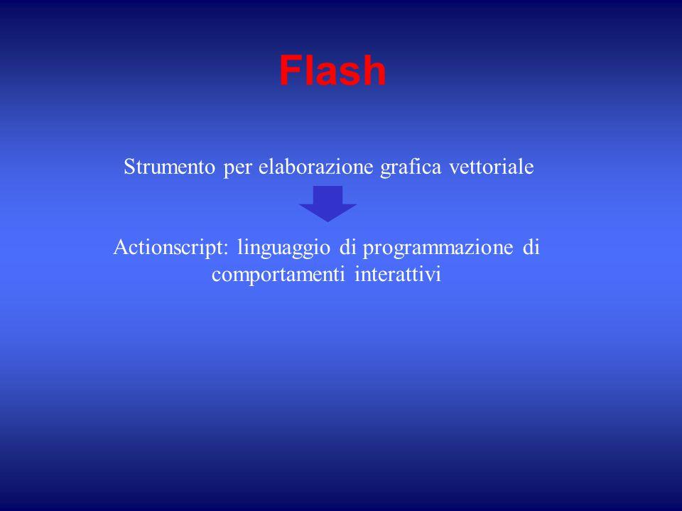 Flash Actionscript: linguaggio di programmazione di comportamenti interattivi Strumento per elaborazione grafica vettoriale