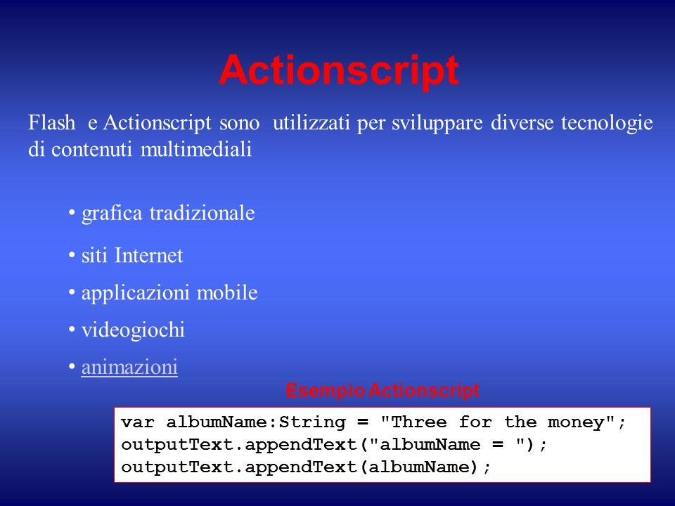 Actionscript Flash e Actionscript sono utilizzati per sviluppare diverse tecnologie di contenuti multimediali grafica tradizionale siti Internet applicazioni mobile videogiochi animazioni var albumName:String = Three for the money ; outputText.appendText( albumName = ); outputText.appendText(albumName); Esempio Actionscript