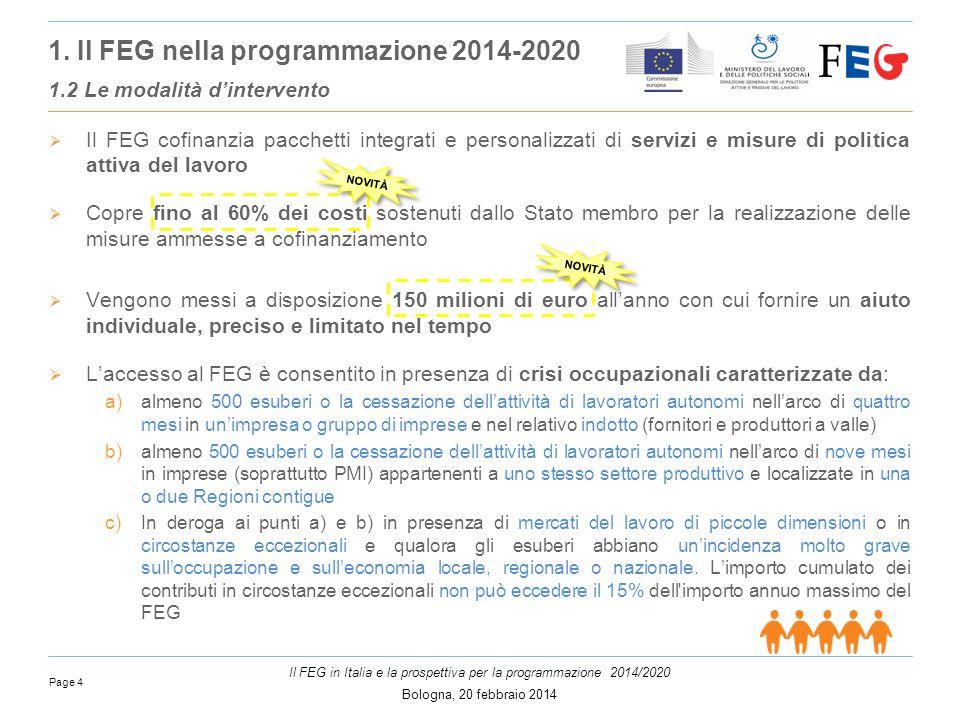 Page 4 Il FEG in Italia e la prospettiva per la programmazione 2014/2020 Bologna, 20 febbraio 2014  Il FEG cofinanzia pacchetti integrati e personalizzati di servizi e misure di politica attiva del lavoro  Copre fino al 60% dei costi sostenuti dallo Stato membro per la realizzazione delle misure ammesse a cofinanziamento  Vengono messi a disposizione 150 milioni di euro all'anno con cui fornire un aiuto individuale, preciso e limitato nel tempo  L'accesso al FEG è consentito in presenza di crisi occupazionali caratterizzate da: a)almeno 500 esuberi o la cessazione dell'attività di lavoratori autonomi nell'arco di quattro mesi in un'impresa o gruppo di imprese e nel relativo indotto (fornitori e produttori a valle) b)almeno 500 esuberi o la cessazione dell'attività di lavoratori autonomi nell'arco di nove mesi in imprese (soprattutto PMI) appartenenti a uno stesso settore produttivo e localizzate in una o due Regioni contigue c)In deroga ai punti a) e b) in presenza di mercati del lavoro di piccole dimensioni o in circostanze eccezionali e qualora gli esuberi abbiano un'incidenza molto grave sull'occupazione e sull'economia locale, regionale o nazionale.