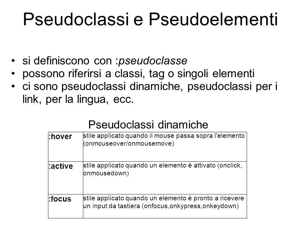 Pseudoclassi e Pseudoelementi si definiscono con :pseudoclasse possono riferirsi a classi, tag o singoli elementi ci sono pseudoclassi dinamiche, pseudoclassi per i link, per la lingua, ecc.
