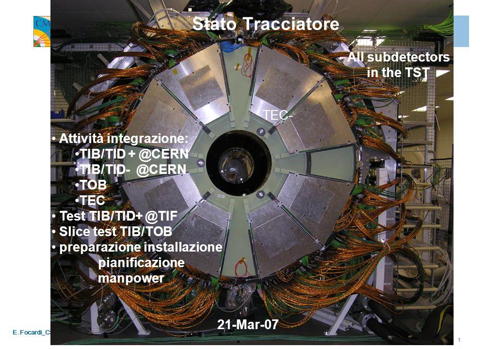 E.Focardi_CSN1_020407 1 Stato Tracciatore Attività integrazione: TIB/TID + @CERN TIB/TID- @CERN TOB TEC Test TIB/TID+ @TIF Slice test TIB/TOB preparazione installazione pianificazione manpower All subdetectors in the TST 21-Mar-07 TEC-