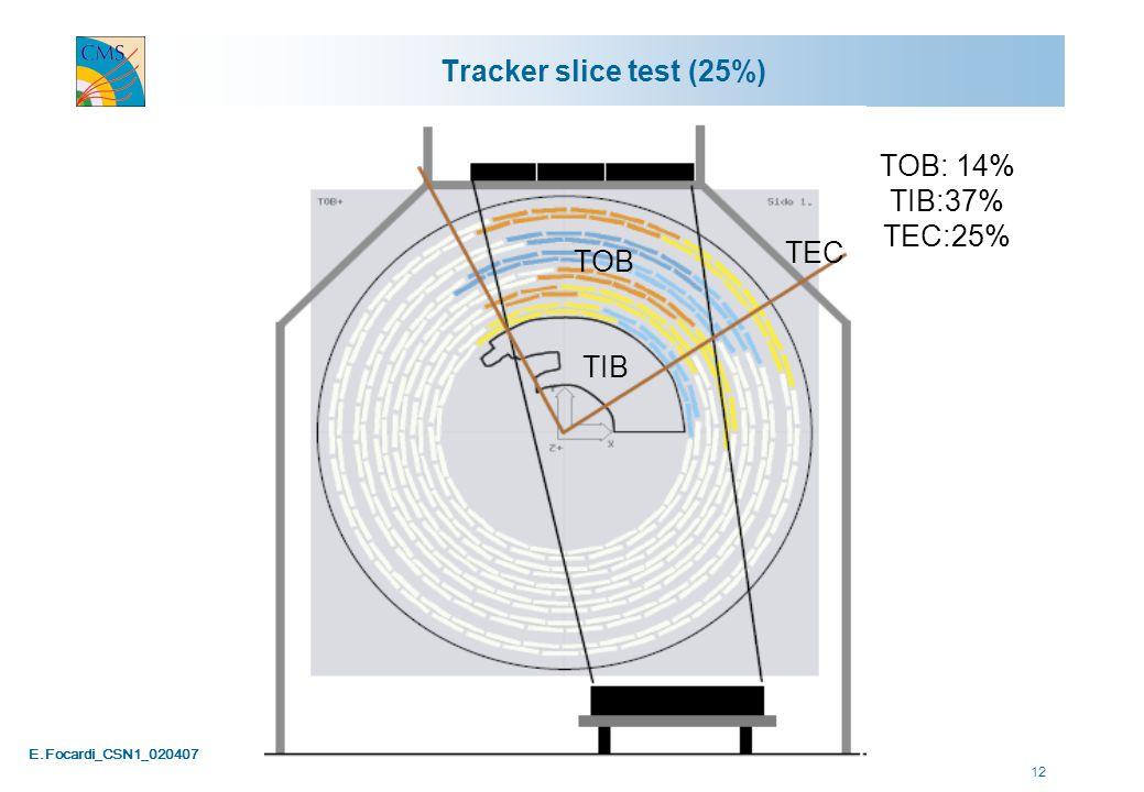 E.Focardi_CSN1_020407 12 Tracker slice test (25%) TOB: 14% TIB:37% TEC:25% TIB TOB TEC