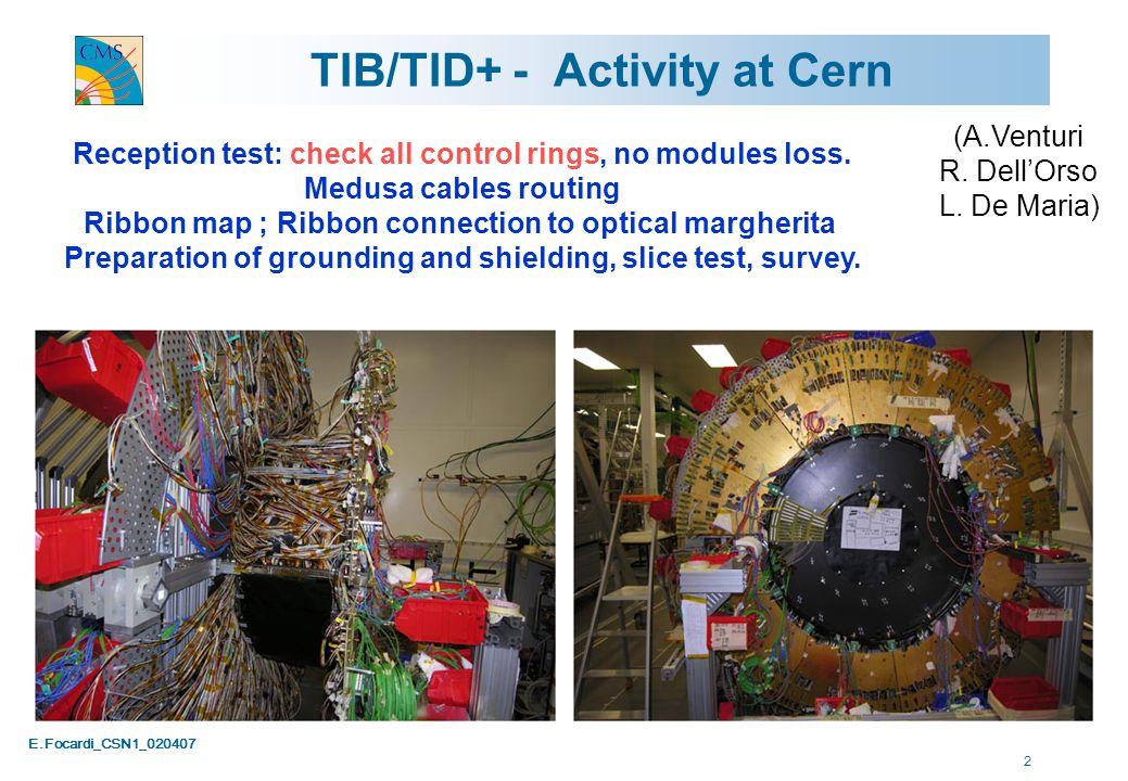 E.Focardi_CSN1_020407 13 TIB+ Noise Peak-On (not normalized) pedestal noise 20-Feb-07 TIB+ alone TIB+TOB+ sync TIB+TOB+ async