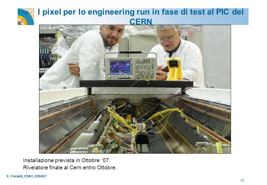 E.Focardi_CSN1_020407 26 I pixel per lo engineering run in fase di test al PIC del CERN Installazione prevista in Ottobre '07. Rivelatore finale al Ce