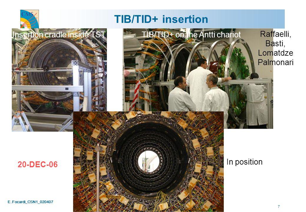 E.Focardi_CSN1_020407 28 YB0 Services Installation Up-date - February 07 TK cables Pack Tk for move TK fibers Move TK Unp TK Conn TK