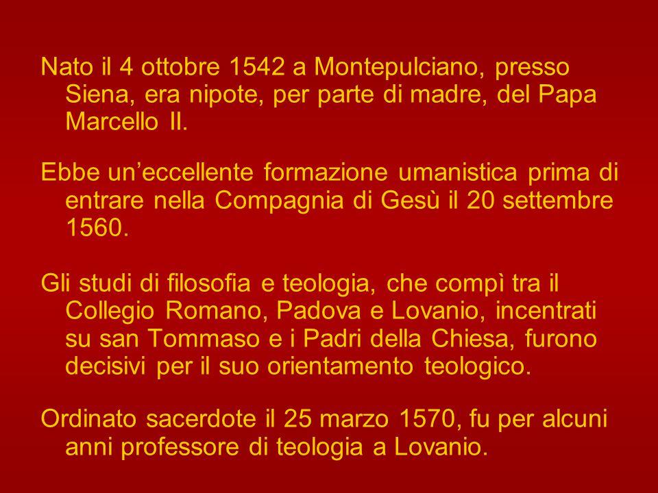 Nato il 4 ottobre 1542 a Montepulciano, presso Siena, era nipote, per parte di madre, del Papa Marcello II.
