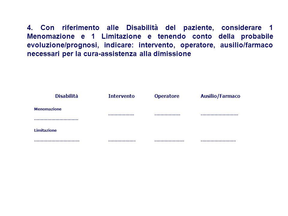 DisabilitàInterventoOperatoreAusilio/Farmaco Menomazione …………………………….