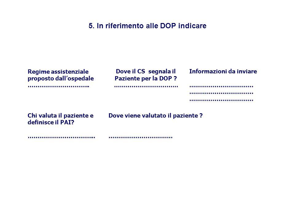 5. In riferimento alle DOP indicare Regime assistenziale proposto dall'ospedale …………………………..