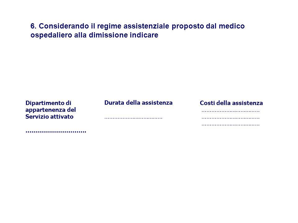 6. Considerando il regime assistenziale proposto dal medico ospedaliero alla dimissione indicare Dipartimento di appartenenza del Servizio attivato ……