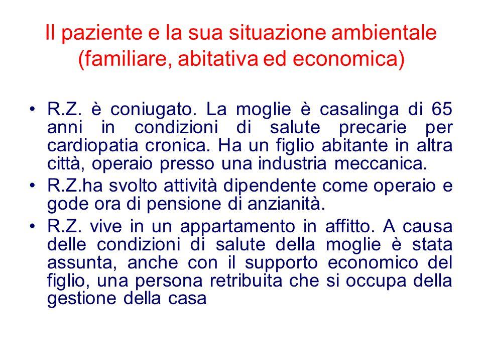 Il paziente e la sua situazione ambientale (familiare, abitativa ed economica) R.Z.