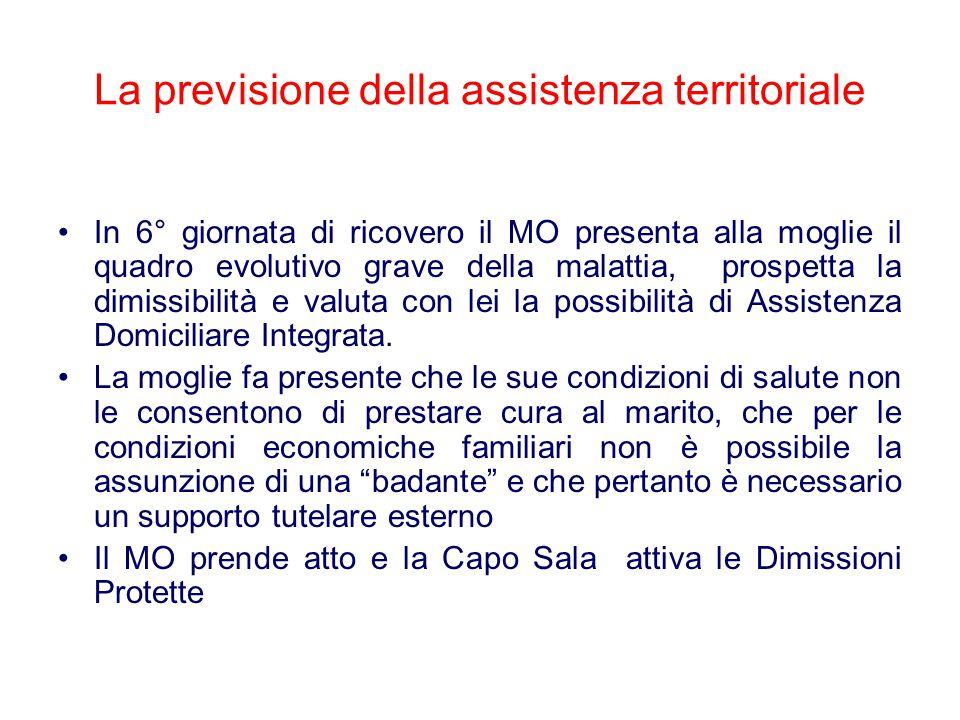 La previsione della assistenza territoriale In 6° giornata di ricovero il MO presenta alla moglie il quadro evolutivo grave della malattia, prospetta la dimissibilità e valuta con lei la possibilità di Assistenza Domiciliare Integrata.