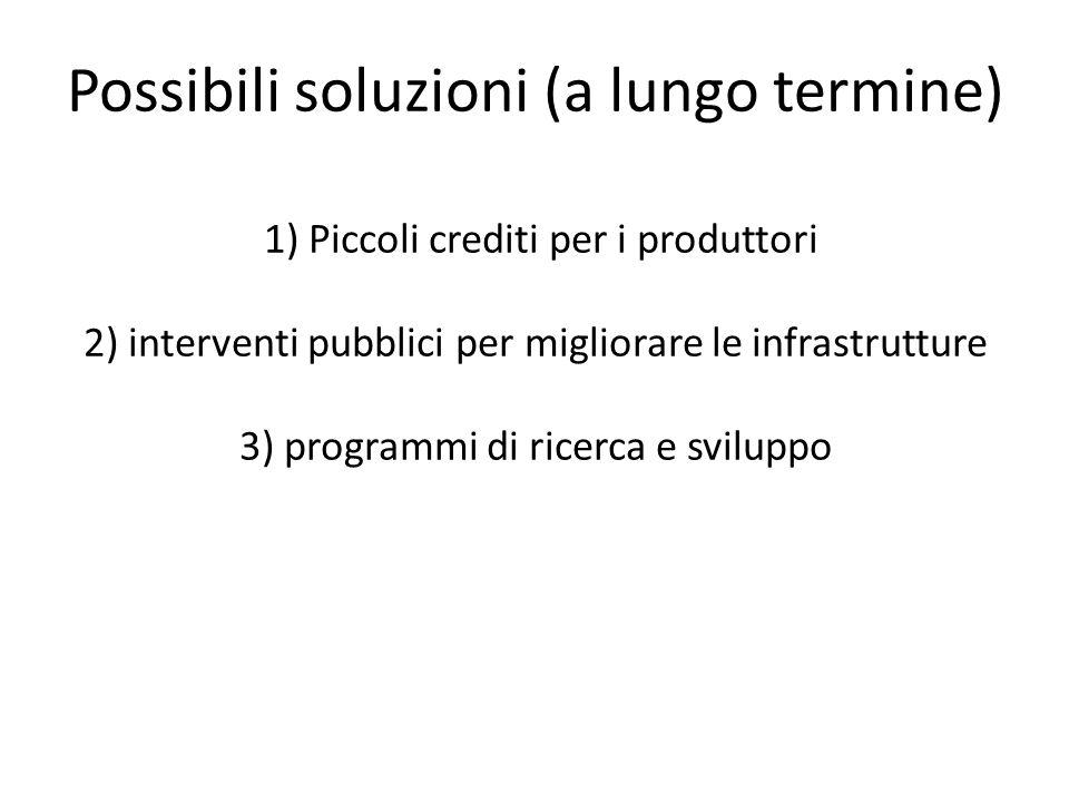 1) Piccoli crediti per i produttori 2) interventi pubblici per migliorare le infrastrutture 3) programmi di ricerca e sviluppo Possibili soluzioni (a