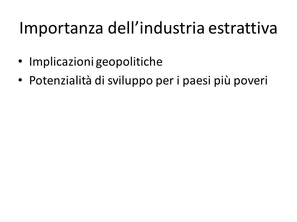 Importanza dell'industria estrattiva Implicazioni geopolitiche Potenzialità di sviluppo per i paesi più poveri