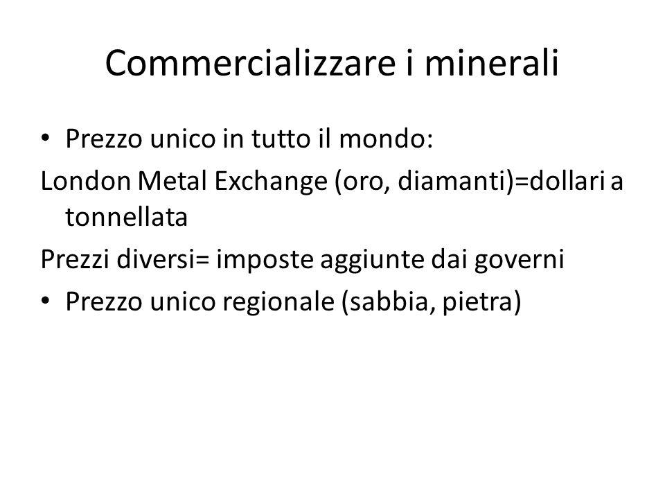 Commercializzare i minerali Prezzo unico in tutto il mondo: London Metal Exchange (oro, diamanti)=dollari a tonnellata Prezzi diversi= imposte aggiunt