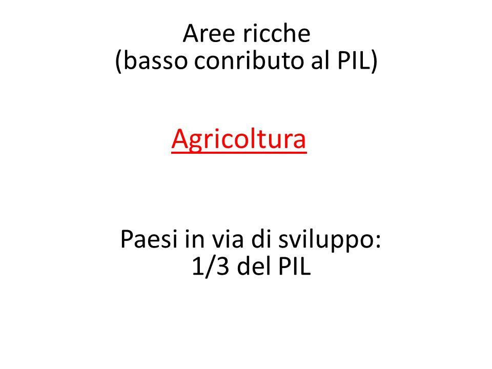 Agricoltura Paesi in via di sviluppo: 1/3 del PIL Aree ricche (basso conributo al PIL)