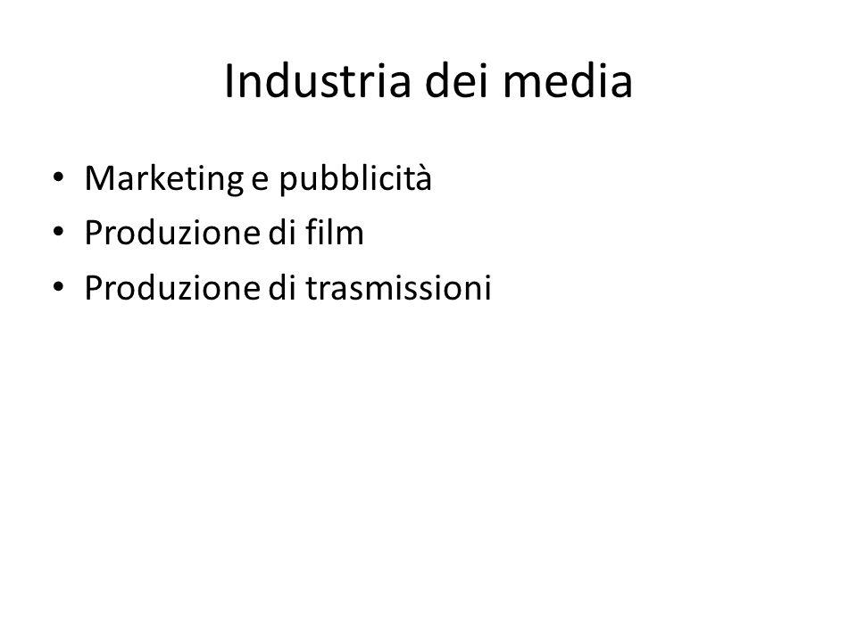 Industria dei media Marketing e pubblicità Produzione di film Produzione di trasmissioni