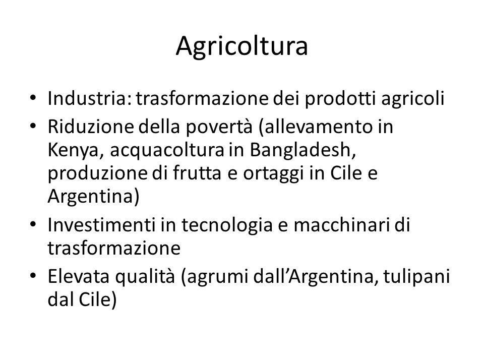 Agricoltura Industria: trasformazione dei prodotti agricoli Riduzione della povertà (allevamento in Kenya, acquacoltura in Bangladesh, produzione di f