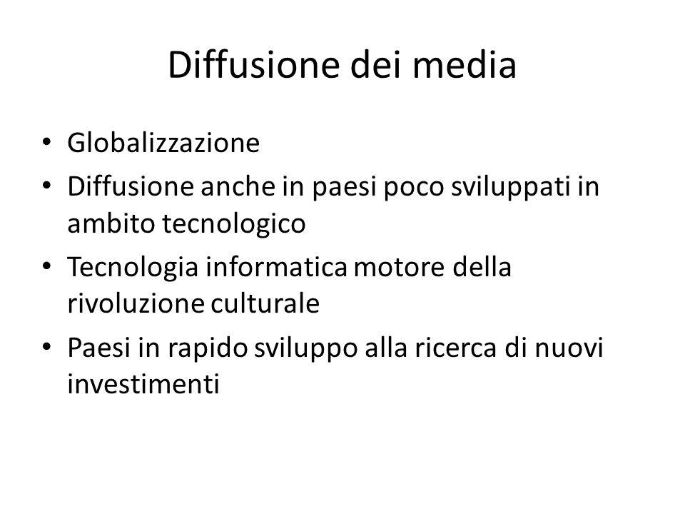 Diffusione dei media Globalizzazione Diffusione anche in paesi poco sviluppati in ambito tecnologico Tecnologia informatica motore della rivoluzione c