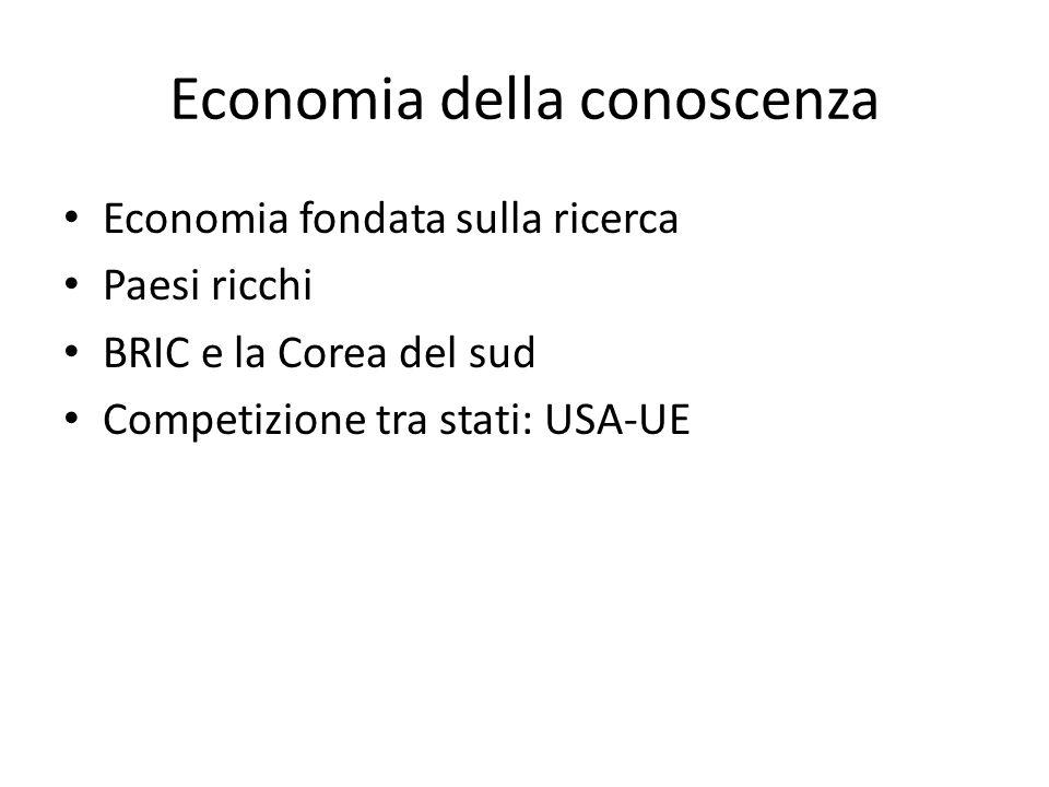 Economia della conoscenza Economia fondata sulla ricerca Paesi ricchi BRIC e la Corea del sud Competizione tra stati: USA-UE