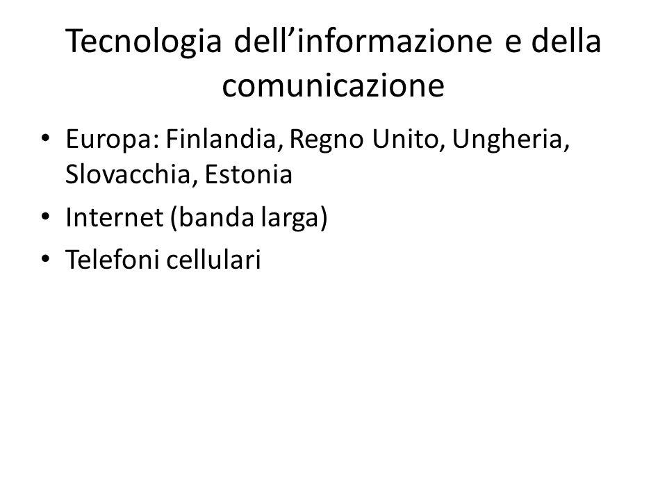 Tecnologia dell'informazione e della comunicazione Europa: Finlandia, Regno Unito, Ungheria, Slovacchia, Estonia Internet (banda larga) Telefoni cellu