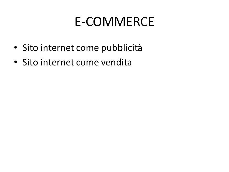E-COMMERCE Sito internet come pubblicità Sito internet come vendita
