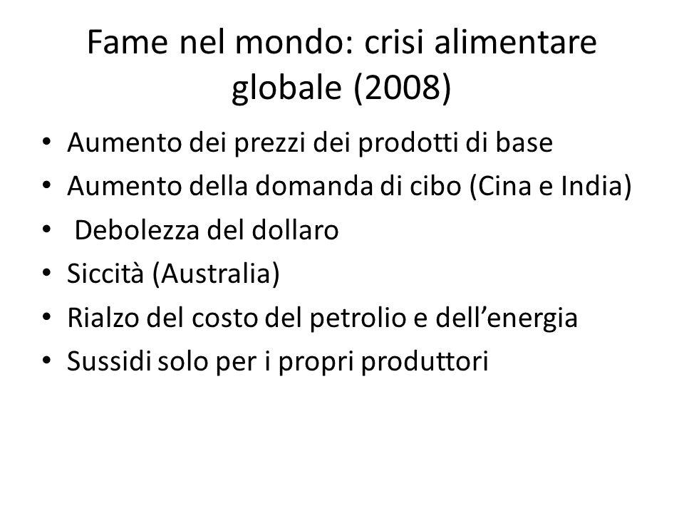 Fame nel mondo: crisi alimentare globale (2008) Aumento dei prezzi dei prodotti di base Aumento della domanda di cibo (Cina e India) Debolezza del dol