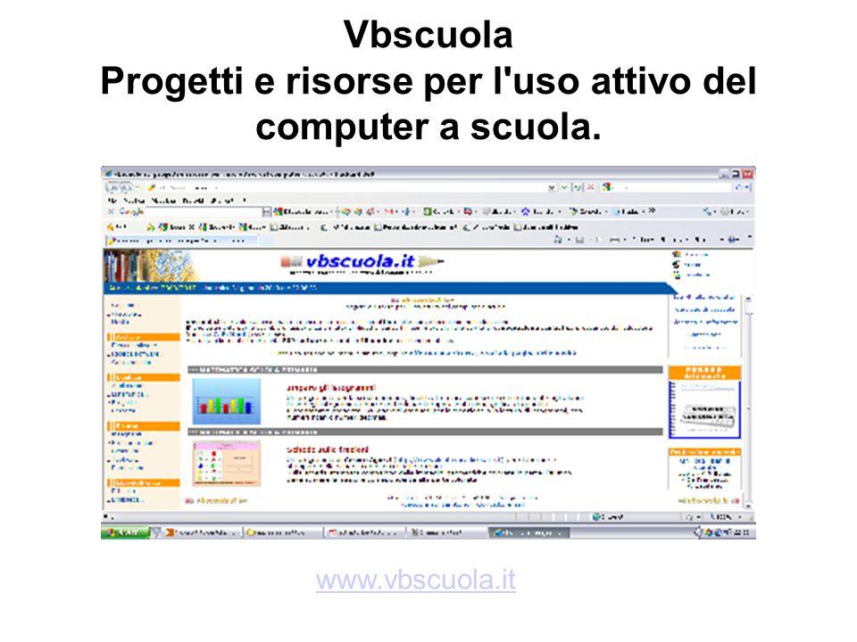 Vbscuola Progetti e risorse per l'uso attivo del computer a scuola. www.vbscuola.it