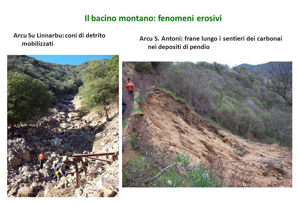 Il bacino montano: fenomeni erosivi Arcu Su Linnarbu: coni di detrito mobilizzati Arcu S. Antoni: frane lungo i sentieri dei carbonai nei depositi di