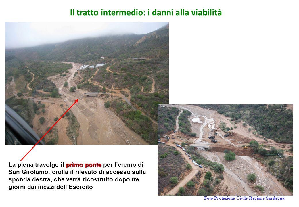 Il tratto intermedio: i danni alla viabilità primoponte La piena travolge il primo ponte per l'eremo di San Girolamo, crolla il rilevato di accesso su
