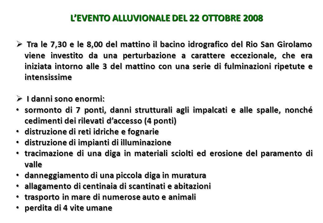 L'EVENTO ALLUVIONALE DEL 22 OTTOBRE 2008  Tra le 7,30 e le 8,00 del mattino il bacino idrografico del Rio San Girolamo viene investito da una perturb