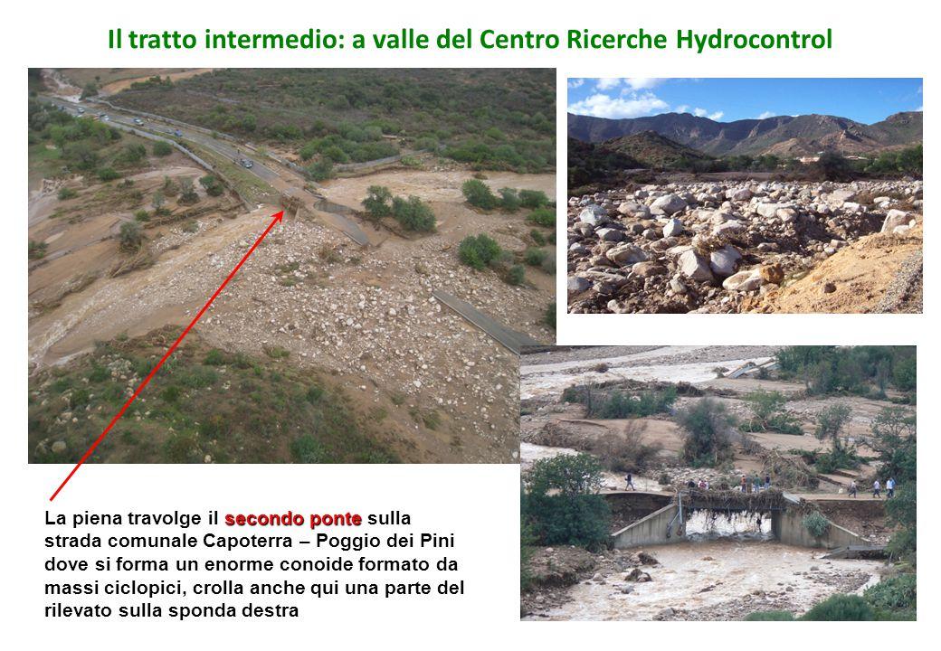 Il tratto intermedio: a valle del Centro Ricerche Hydrocontrol secondo ponte La piena travolge il secondo ponte sulla strada comunale Capoterra – Pogg