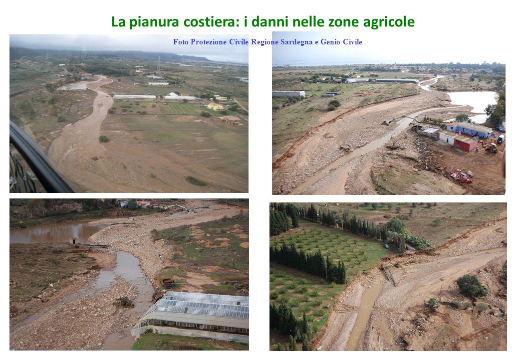 La pianura costiera: i danni nelle zone agricole Foto Protezione Civile Regione Sardegna e Genio Civile