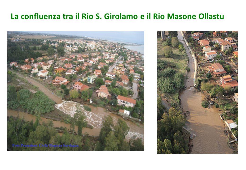 La confluenza tra il Rio S. Girolamo e il Rio Masone Ollastu Foto Protezione Civile Regione Sardegna