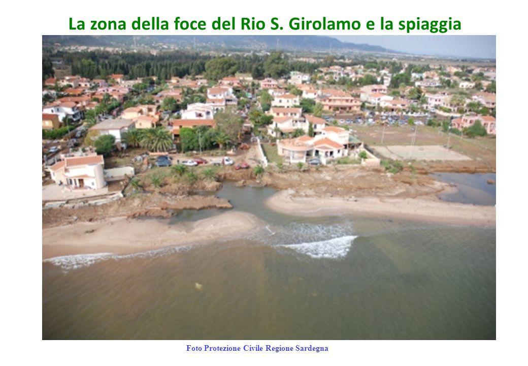 La zona della foce del Rio S. Girolamo e la spiaggia Foto Protezione Civile Regione Sardegna