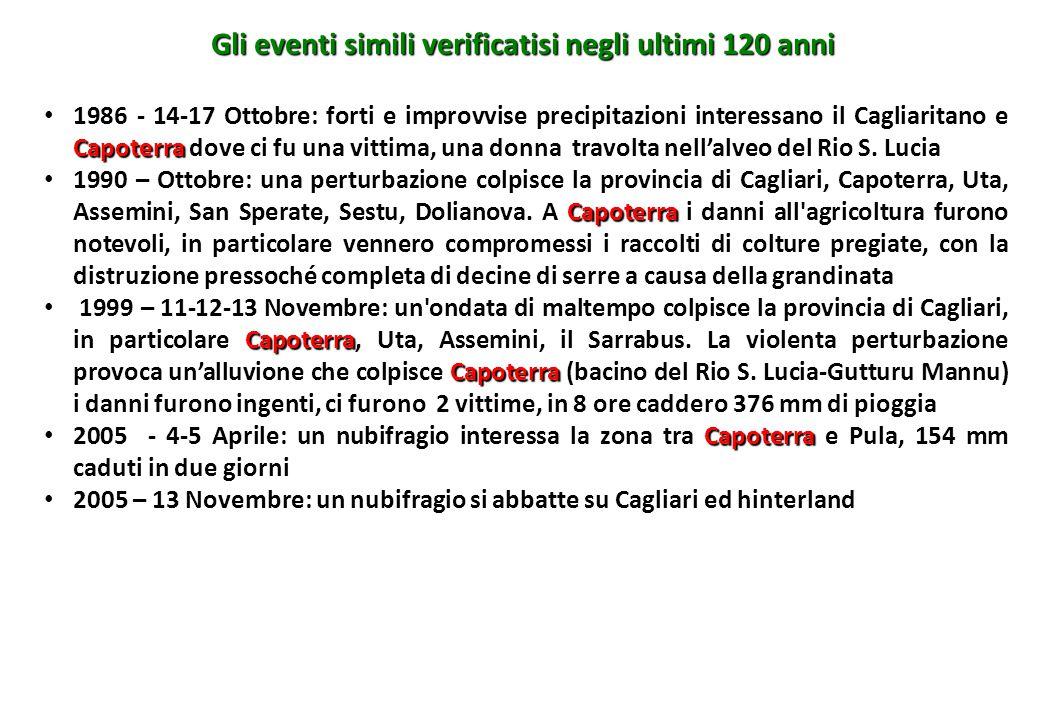 Gli eventi simili verificatisi negli ultimi 120 anni 1986 - 14-17 Ottobre: forti e improvvise precipitazioni interessano il Cagliaritano e Capoterra d