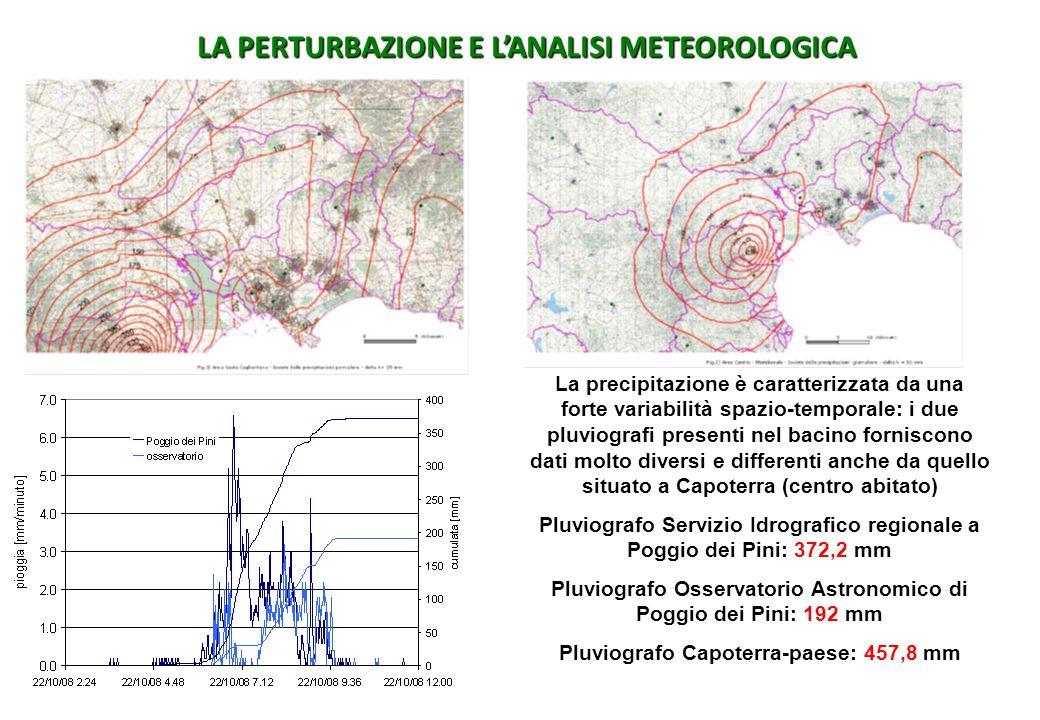 La precipitazione è caratterizzata da una forte variabilità spazio-temporale: i due pluviografi presenti nel bacino forniscono dati molto diversi e di