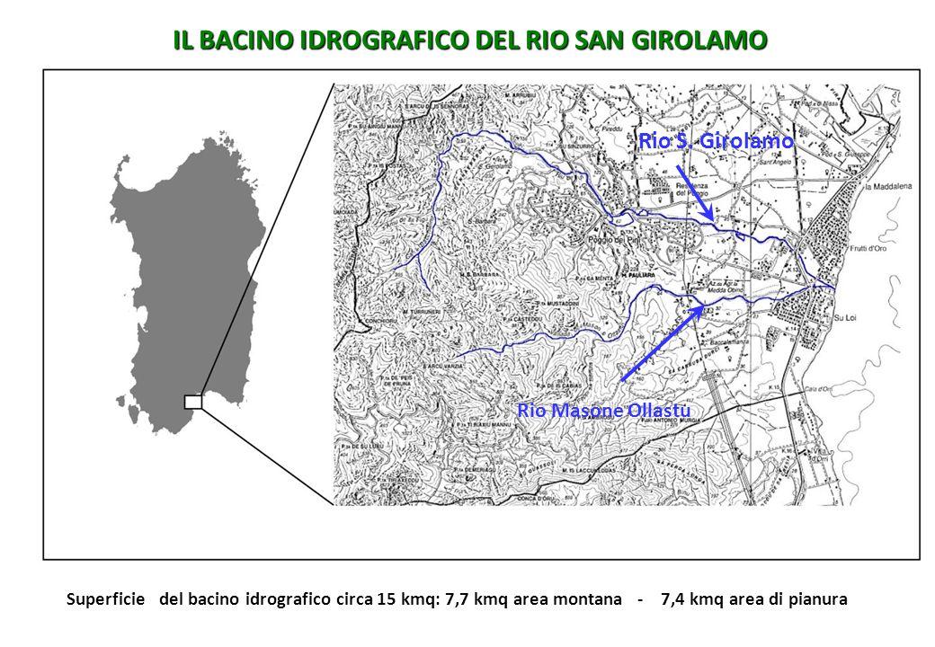 IL BACINO IDROGRAFICO DEL RIO SAN GIROLAMO Rio S. Girolamo Rio Masone Ollastu Superficie del bacino idrografico circa 15 kmq: 7,7 kmq area montana - 7