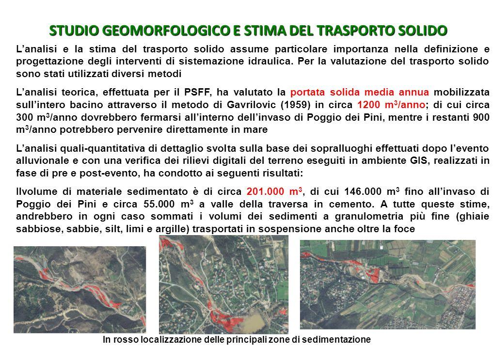 STUDIO GEOMORFOLOGICO E STIMA DEL TRASPORTO SOLIDO L'analisi e la stima del trasporto solido assume particolare importanza nella definizione e progett