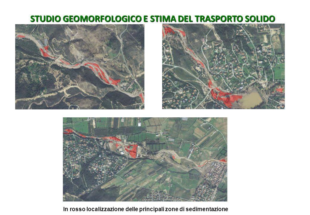 STUDIO GEOMORFOLOGICO E STIMA DEL TRASPORTO SOLIDO In rosso localizzazione delle principali zone di sedimentazione