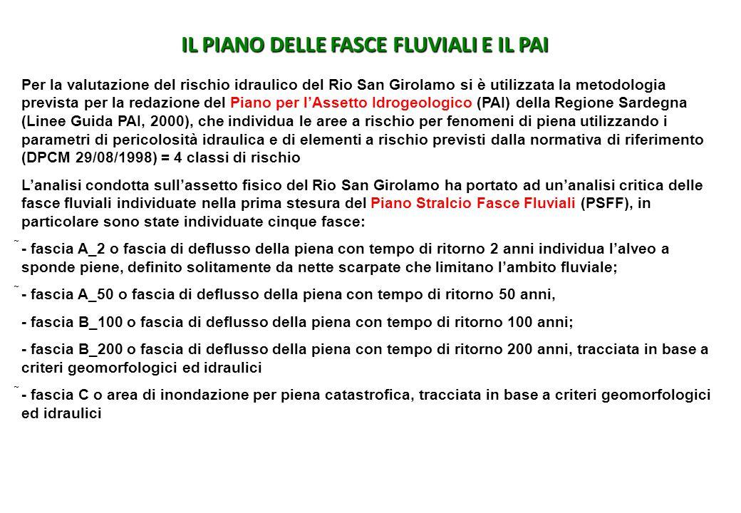 IL PIANO DELLE FASCE FLUVIALI E IL PAI Per la valutazione del rischio idraulico del Rio San Girolamo si è utilizzata la metodologia prevista per la re